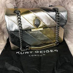 Kurt Geiger Striped Leather Metallic Crossbody Bag